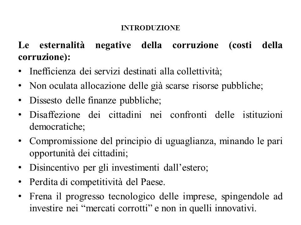 Le esternalità negative della corruzione (costi della corruzione):