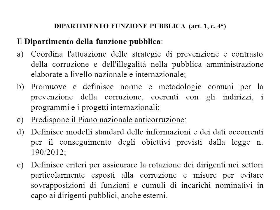 DIPARTIMENTO FUNZIONE PUBBLICA (art. 1, c. 4°)