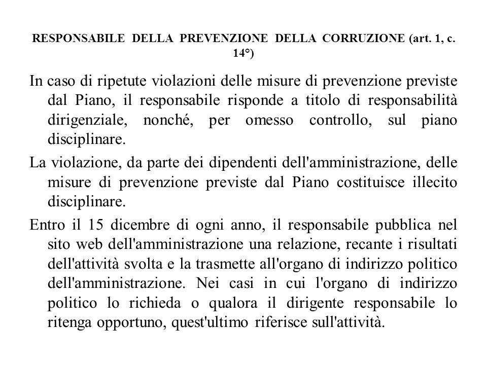 RESPONSABILE DELLA PREVENZIONE DELLA CORRUZIONE (art. 1, c. 14°)
