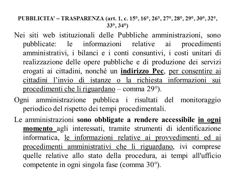 PUBBLICITA' – TRASPARENZA (art. 1, c