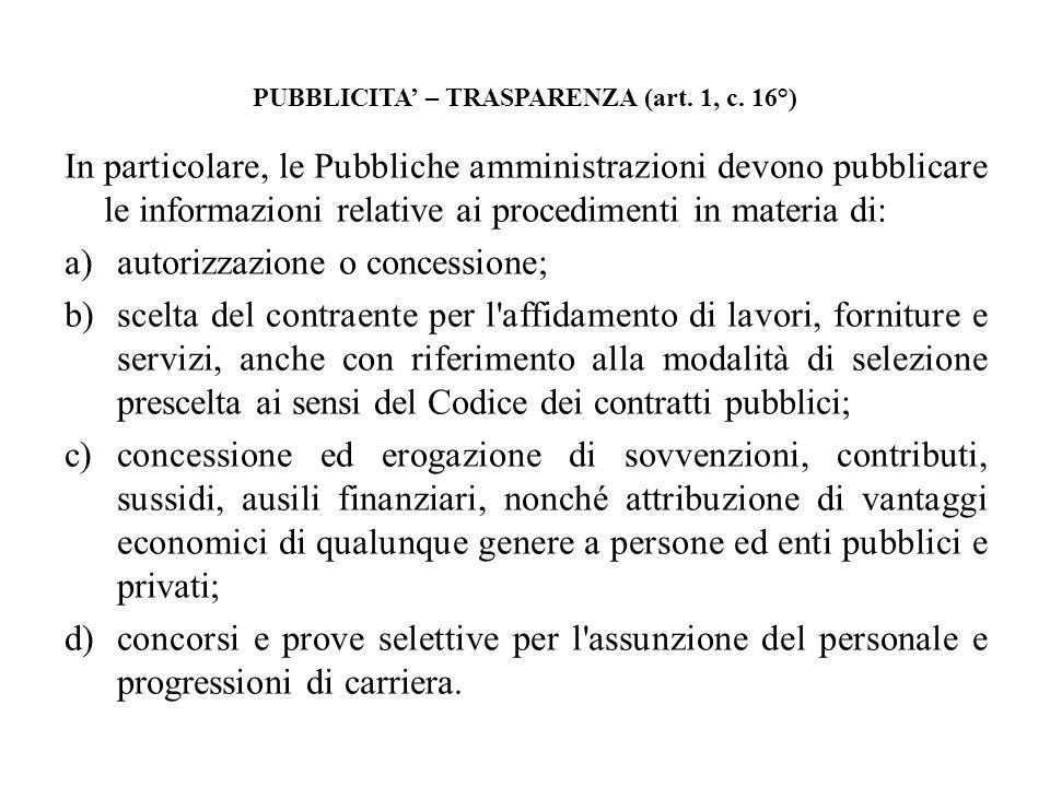 PUBBLICITA' – TRASPARENZA (art. 1, c. 16°)
