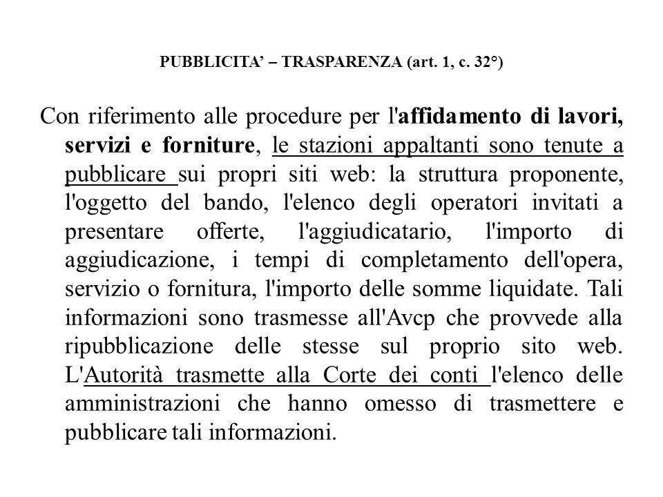 PUBBLICITA' – TRASPARENZA (art. 1, c. 32°)