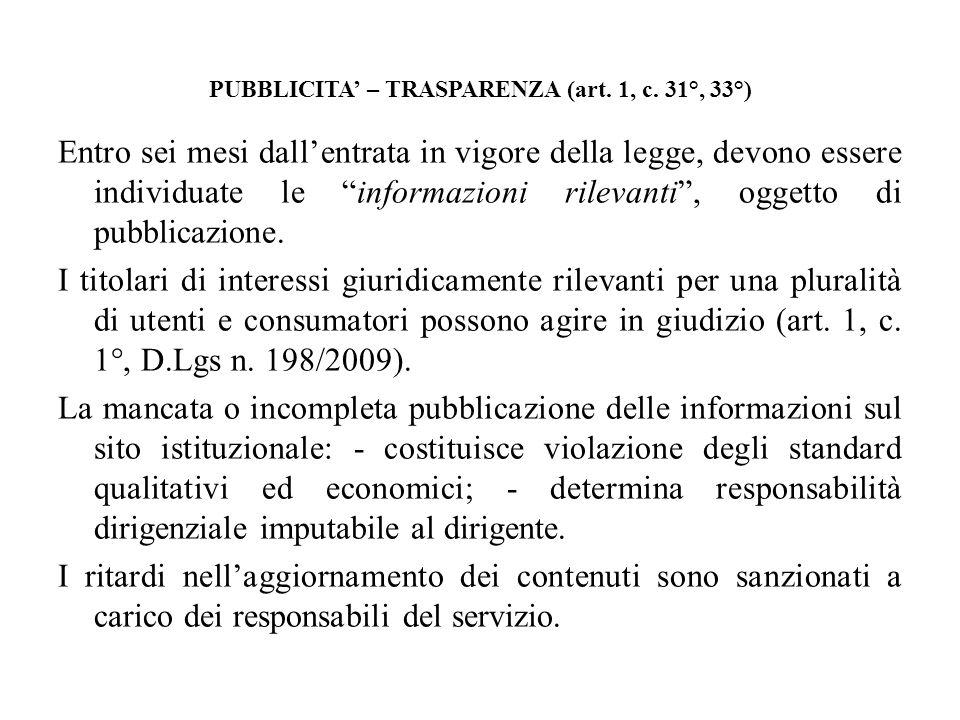 PUBBLICITA' – TRASPARENZA (art. 1, c. 31°, 33°)