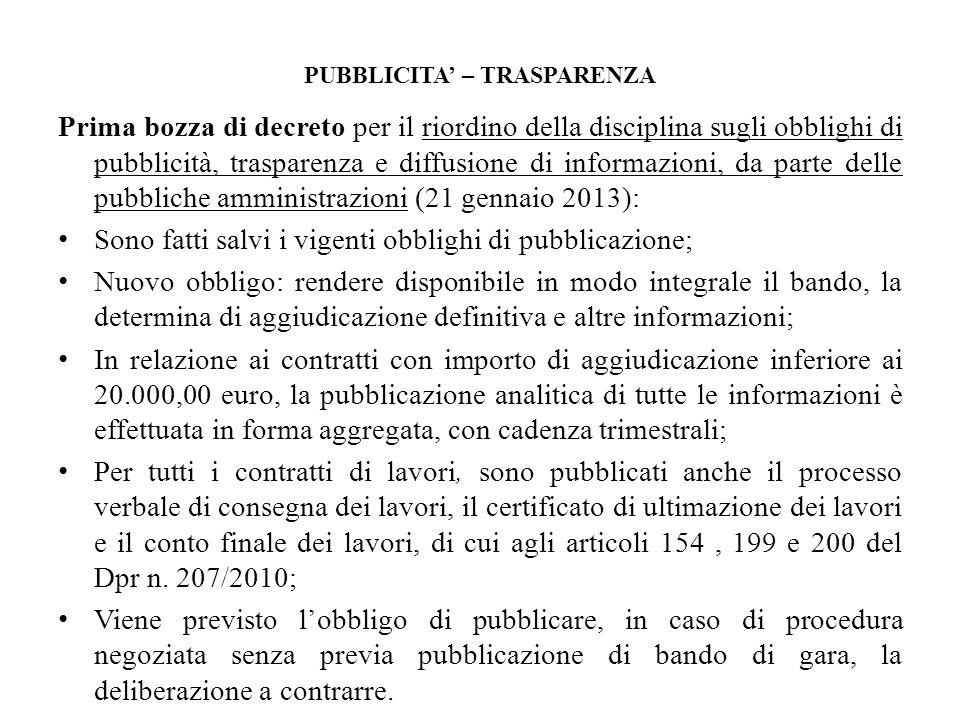 PUBBLICITA' – TRASPARENZA