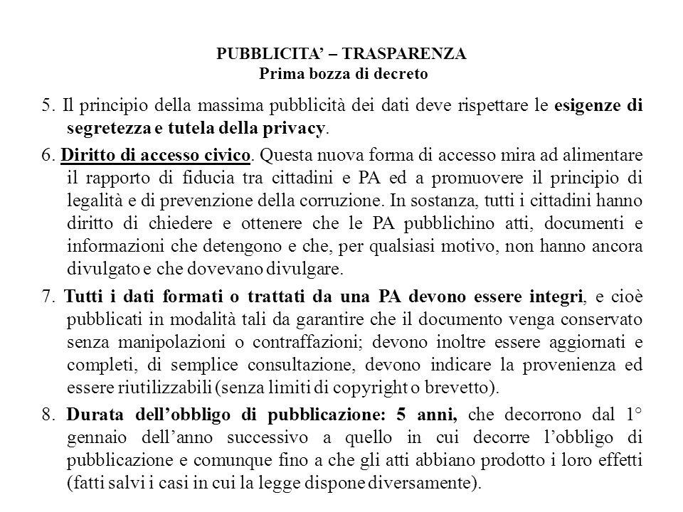 PUBBLICITA' – TRASPARENZA Prima bozza di decreto