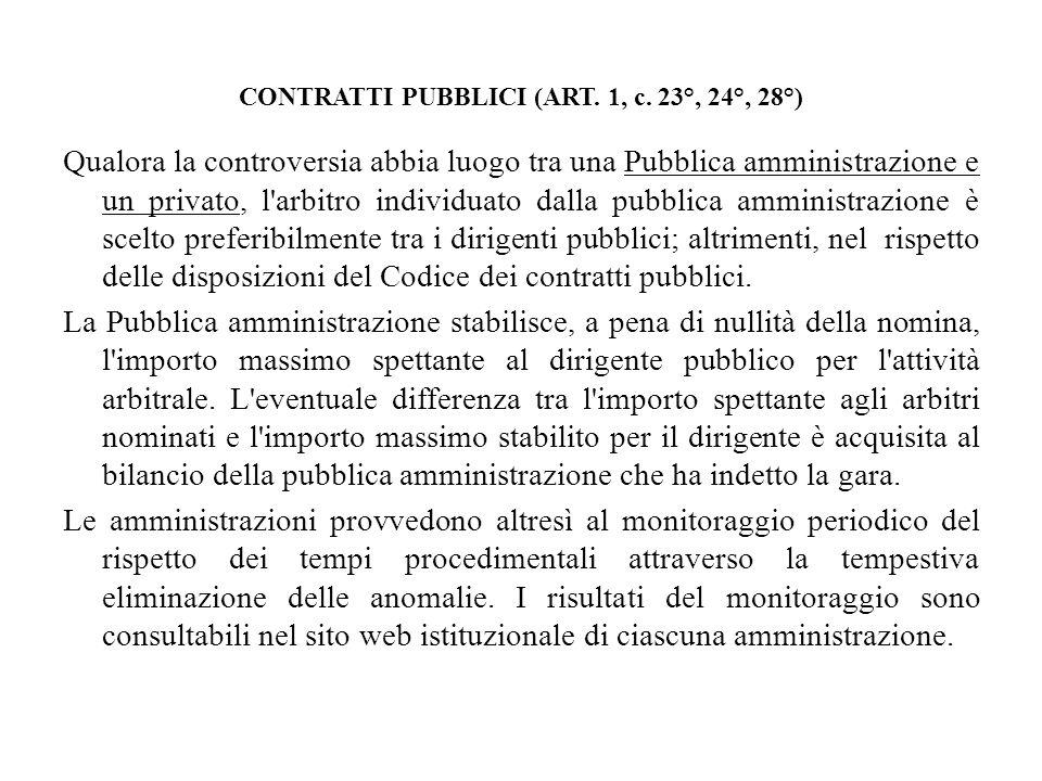 CONTRATTI PUBBLICI (ART. 1, c. 23°, 24°, 28°)