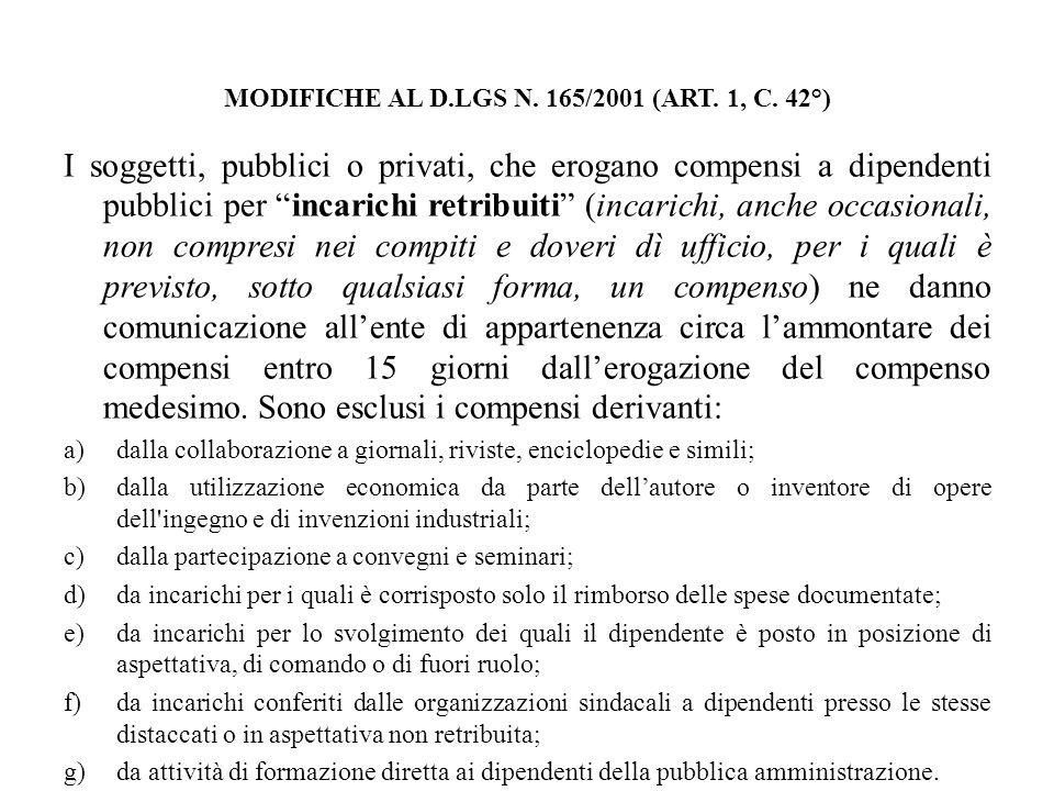 MODIFICHE AL D.LGS N. 165/2001 (ART. 1, C. 42°)