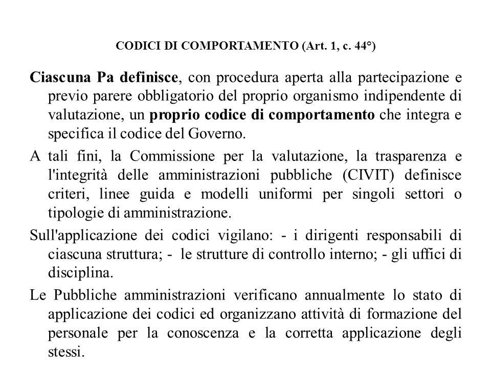 CODICI DI COMPORTAMENTO (Art. 1, c. 44°)