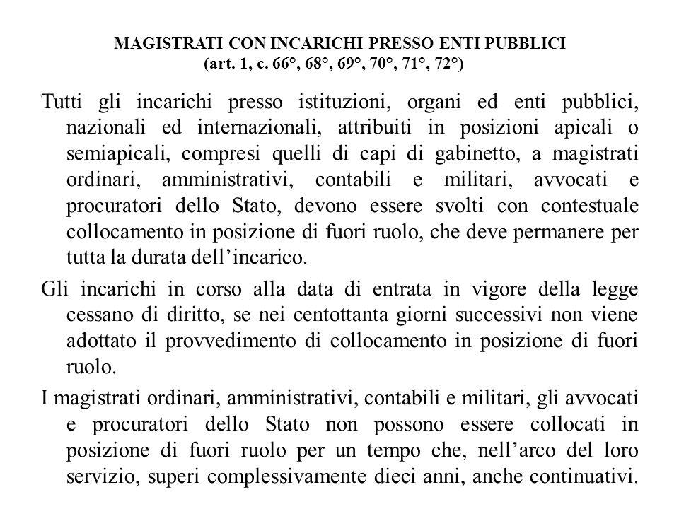MAGISTRATI CON INCARICHI PRESSO ENTI PUBBLICI (art. 1, c