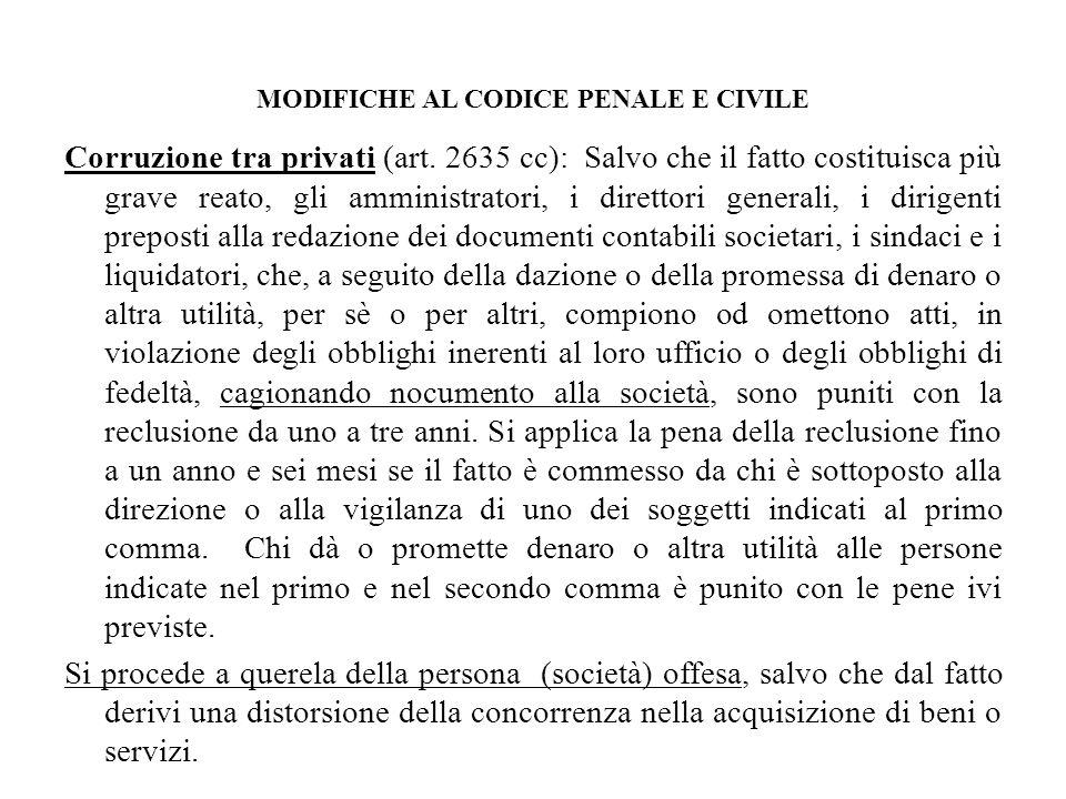 MODIFICHE AL CODICE PENALE E CIVILE