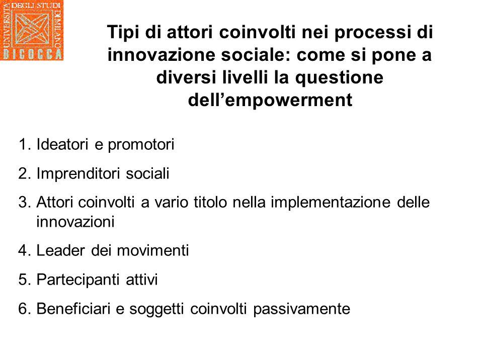 Tipi di attori coinvolti nei processi di innovazione sociale: come si pone a diversi livelli la questione dell'empowerment