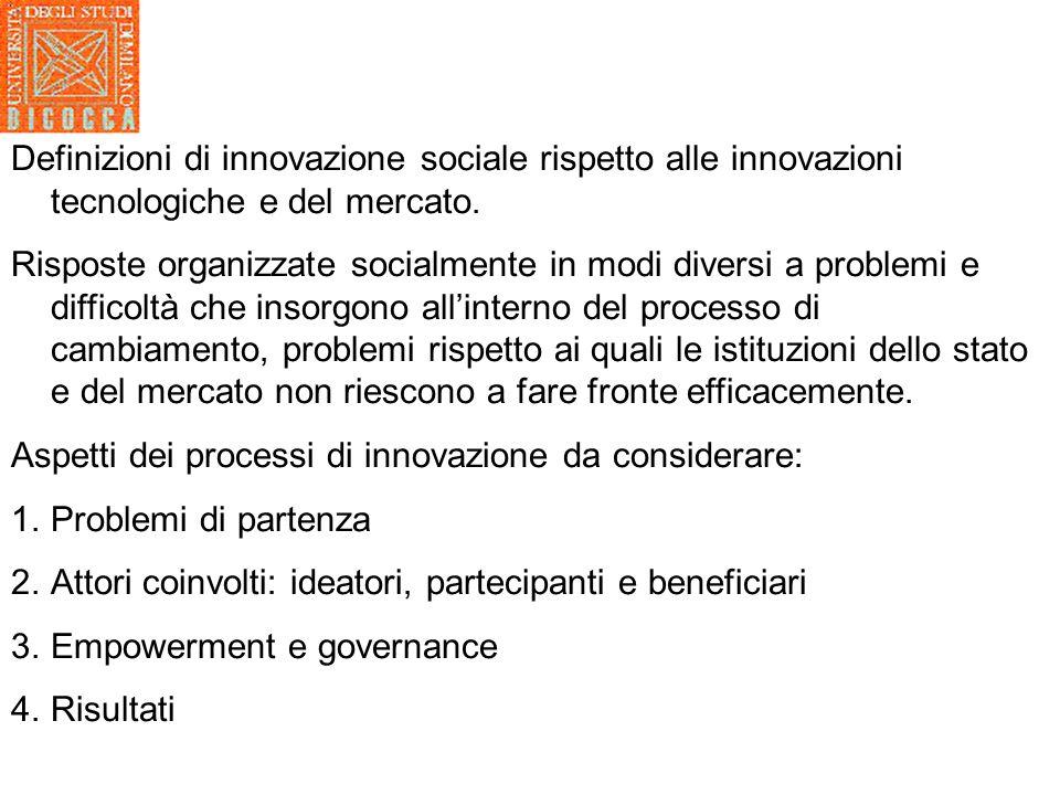 Definizioni di innovazione sociale rispetto alle innovazioni tecnologiche e del mercato.