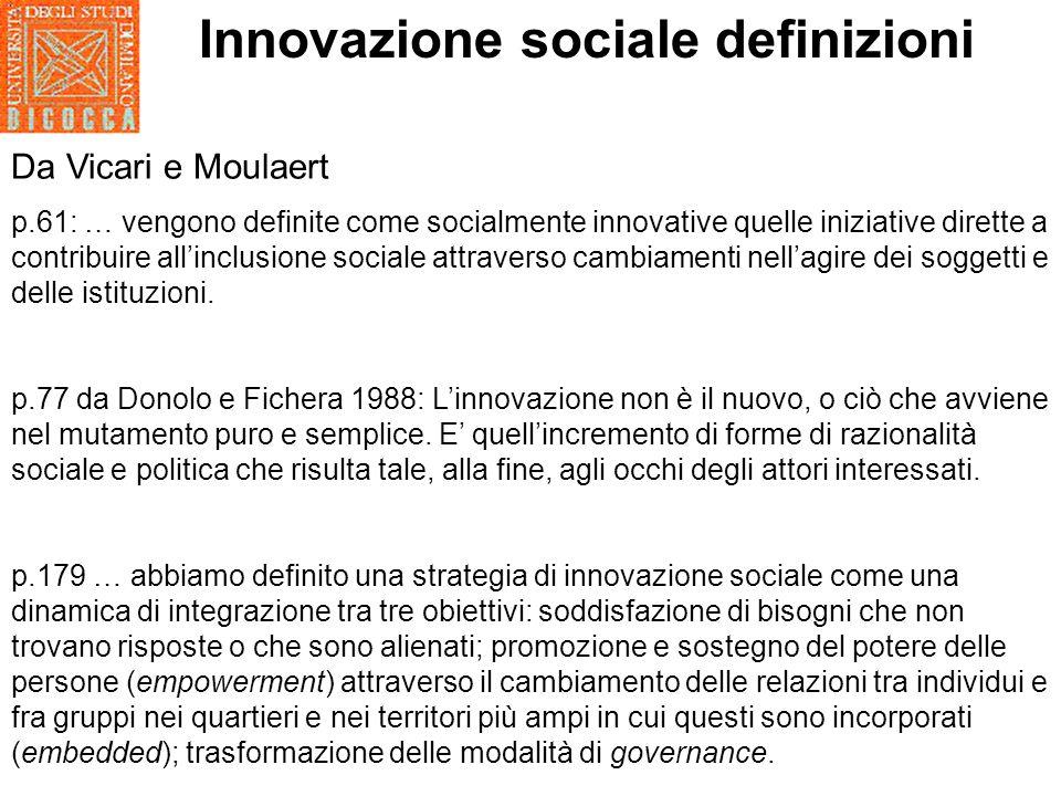 Innovazione sociale definizioni