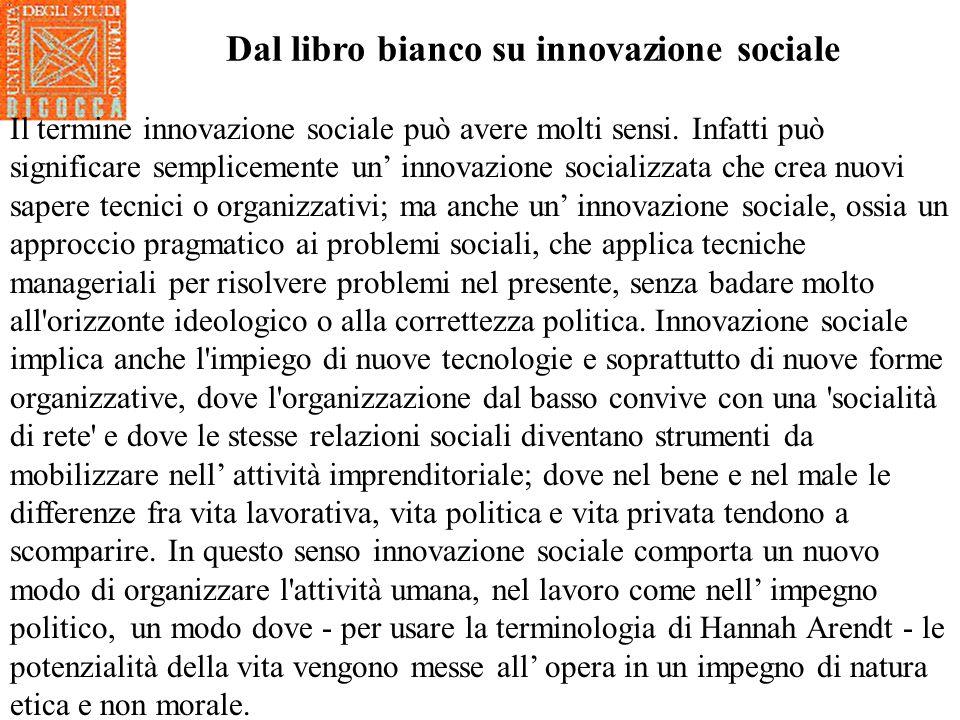 Dal libro bianco su innovazione sociale