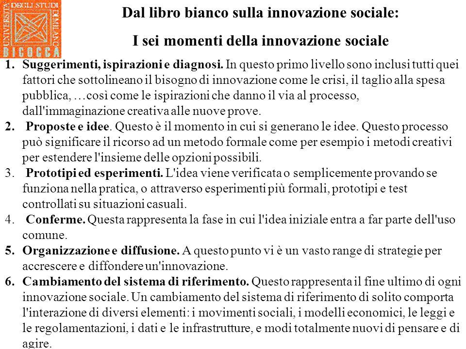 Dal libro bianco sulla innovazione sociale: