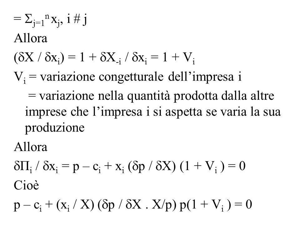 = j=1n xj, i # j Allora. (X / xi) = 1 + X-i / xi = 1 + Vi. Vi = variazione congetturale dell'impresa i.