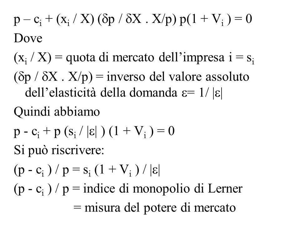 p – ci + (xi / X) (p / X . X/p) p(1 + Vi ) = 0