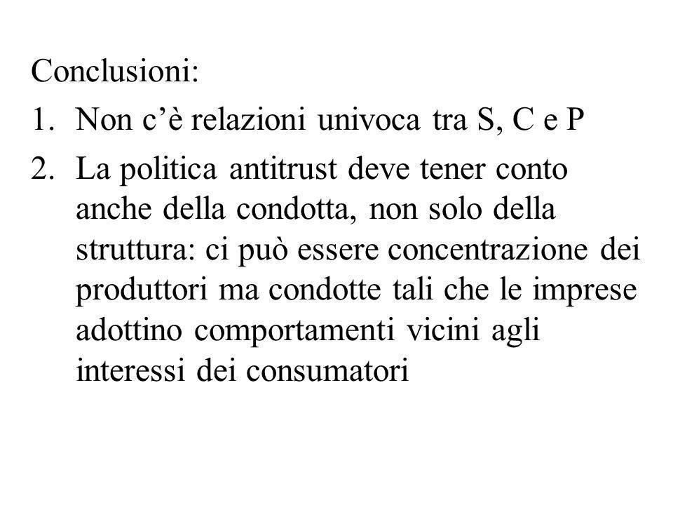 Conclusioni:Non c'è relazioni univoca tra S, C e P.
