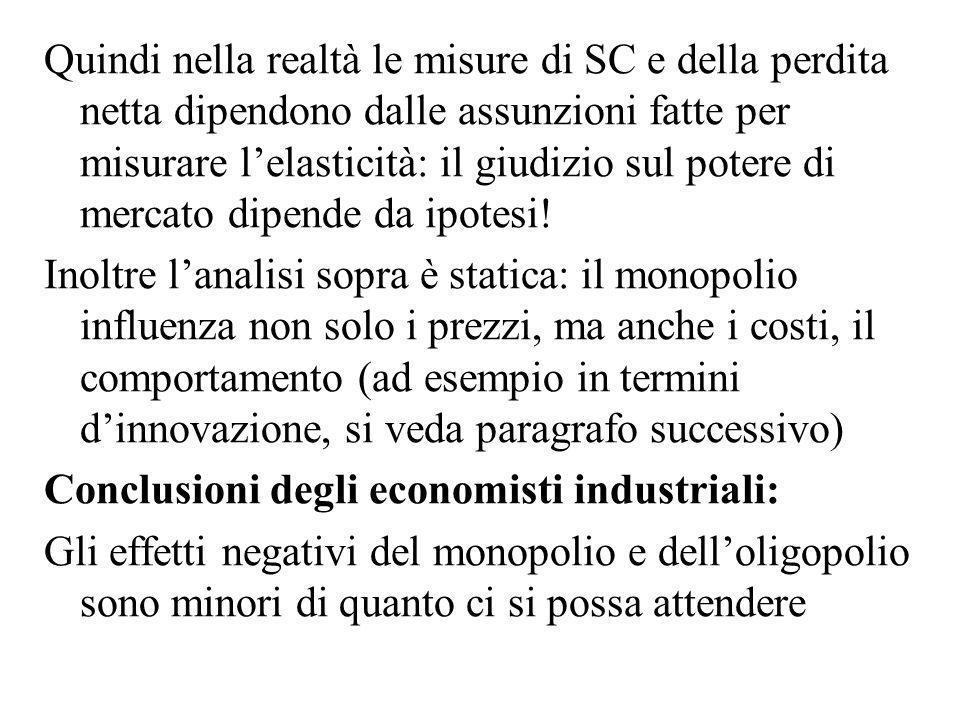 Quindi nella realtà le misure di SC e della perdita netta dipendono dalle assunzioni fatte per misurare l'elasticità: il giudizio sul potere di mercato dipende da ipotesi!