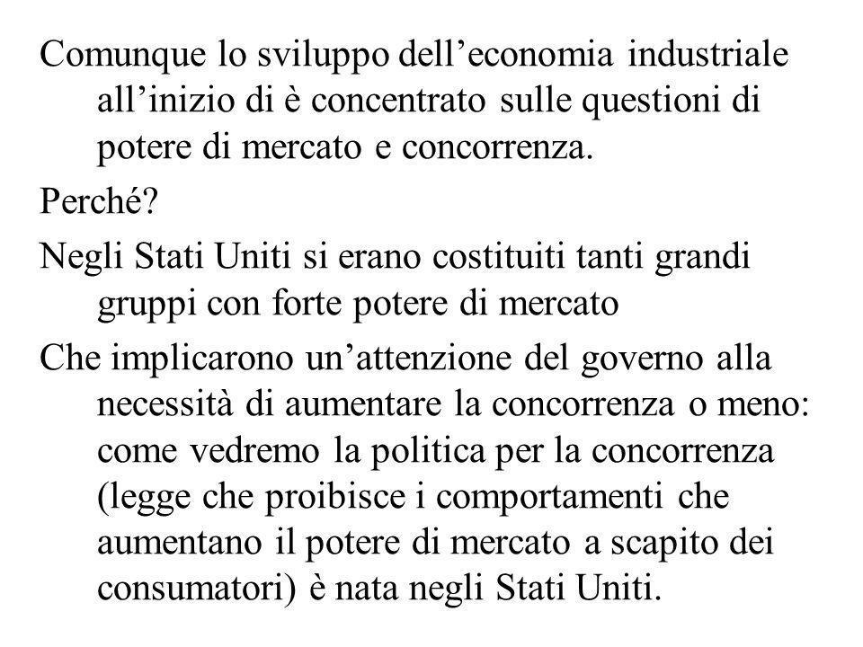 Comunque lo sviluppo dell'economia industriale all'inizio di è concentrato sulle questioni di potere di mercato e concorrenza.