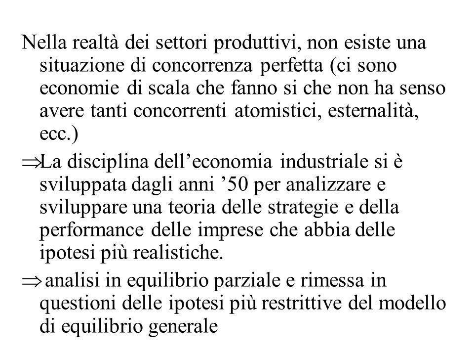 Nella realtà dei settori produttivi, non esiste una situazione di concorrenza perfetta (ci sono economie di scala che fanno si che non ha senso avere tanti concorrenti atomistici, esternalità, ecc.)
