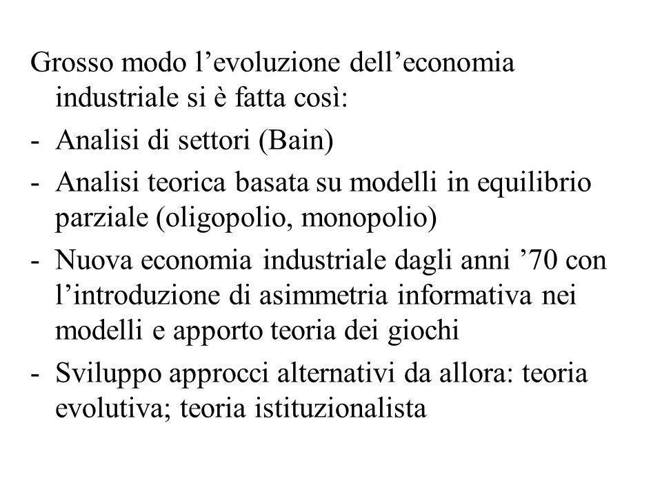 Grosso modo l'evoluzione dell'economia industriale si è fatta così: