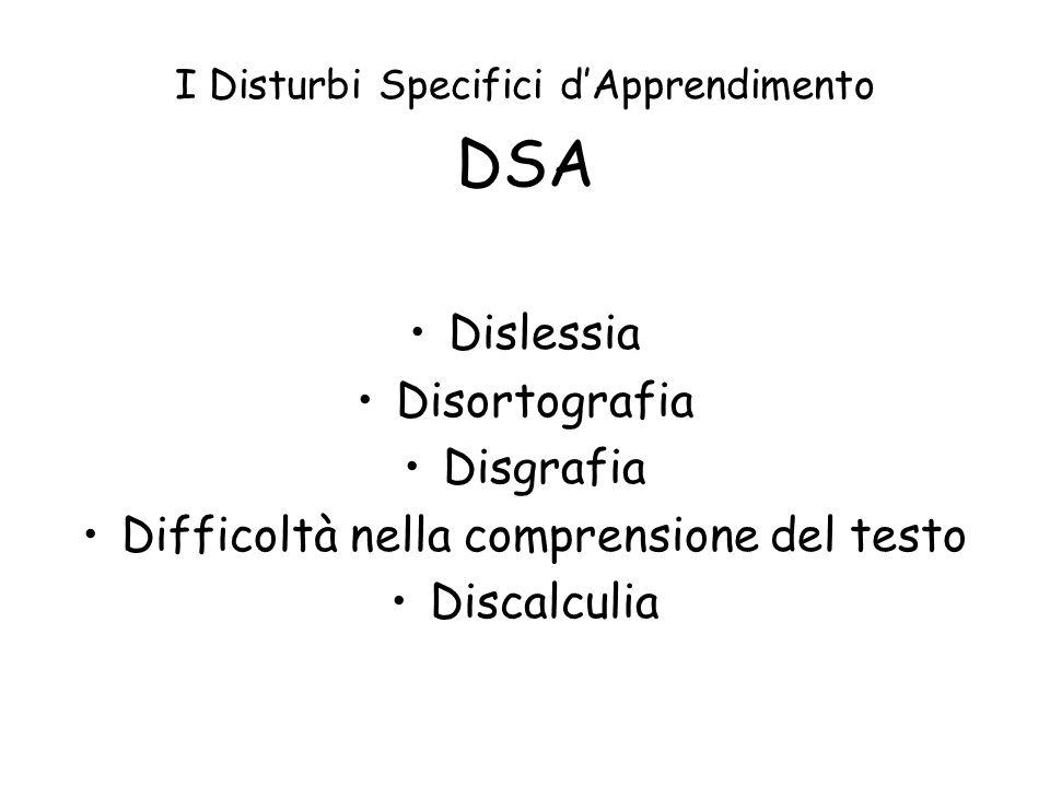 DSA Dislessia Disortografia Disgrafia