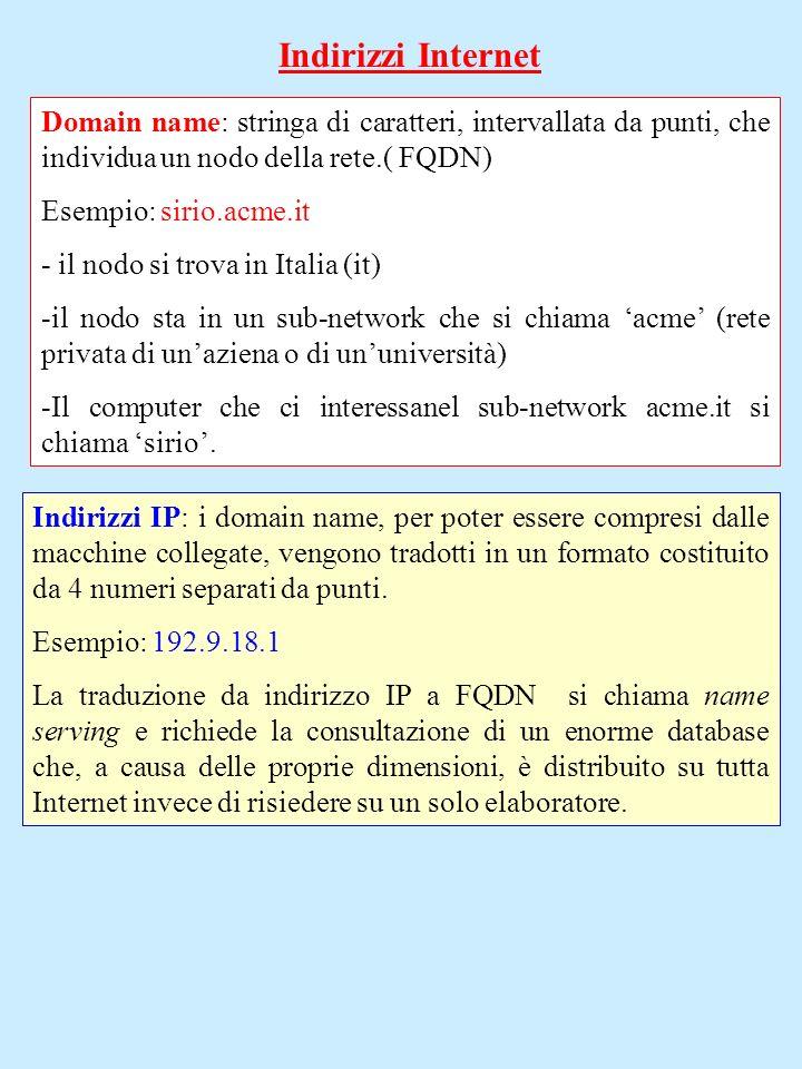 Indirizzi InternetDomain name: stringa di caratteri, intervallata da punti, che individua un nodo della rete.( FQDN)