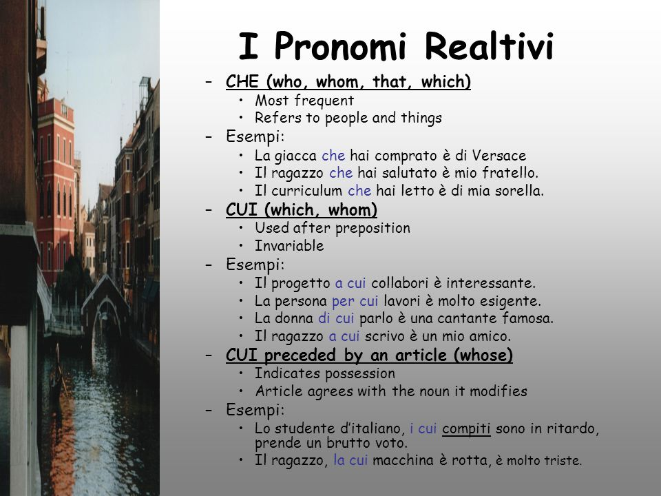 I Pronomi Realtivi CHE (who, whom, that, which) Esempi: