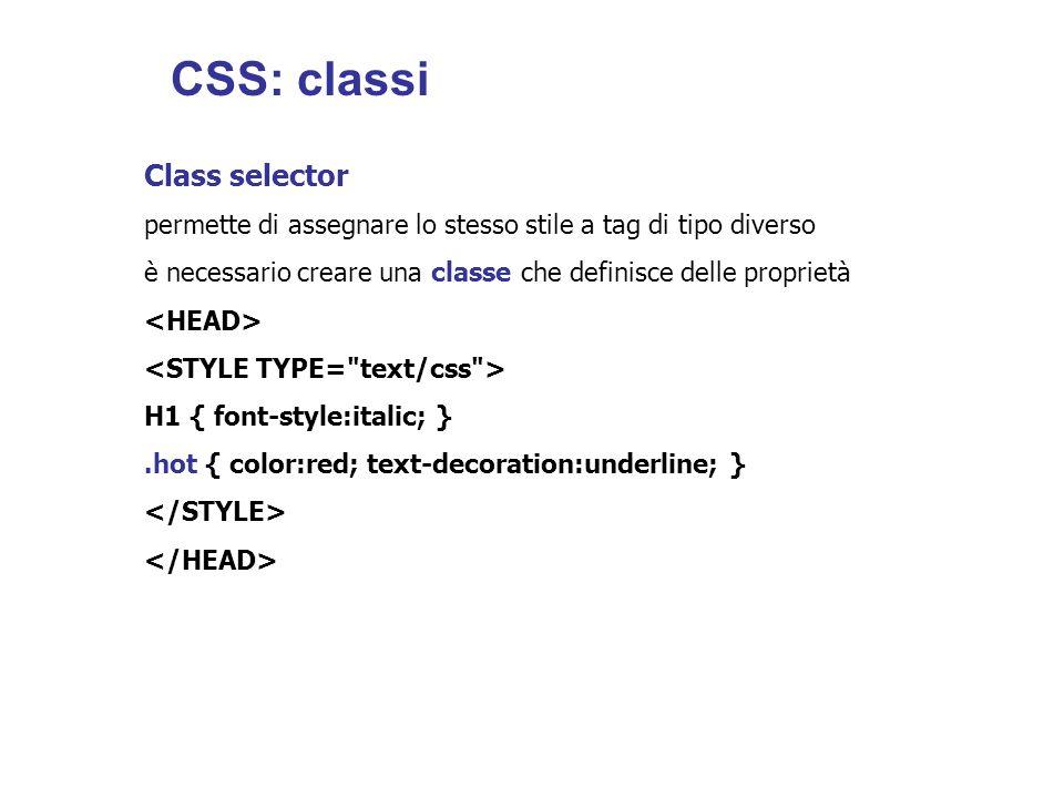 CSS: classi Class selector
