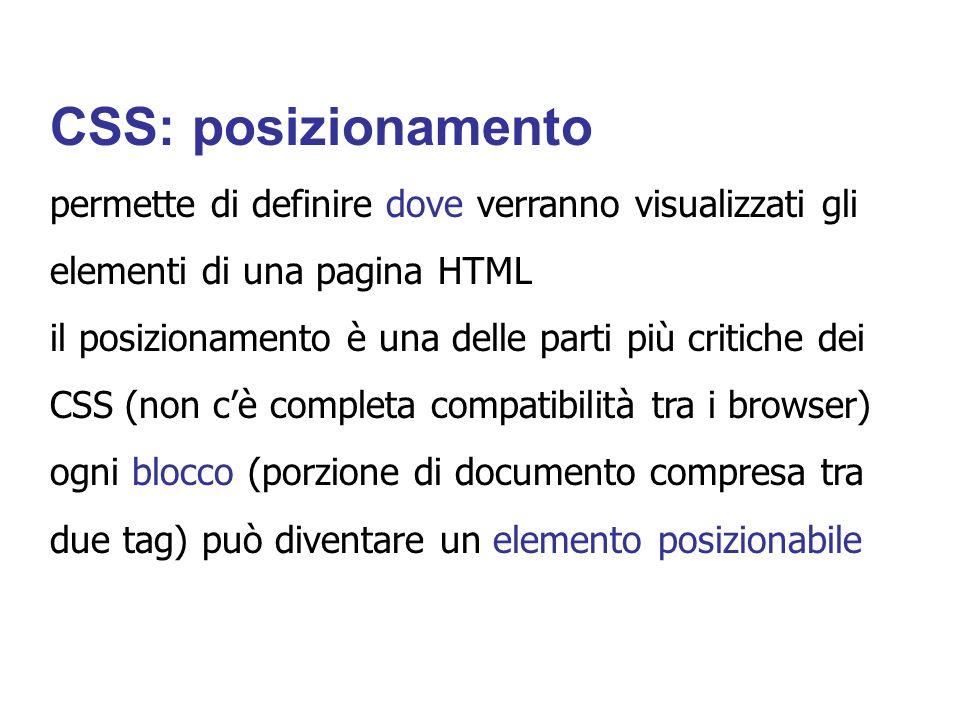 CSS: posizionamento permette di definire dove verranno visualizzati gli. elementi di una pagina HTML.