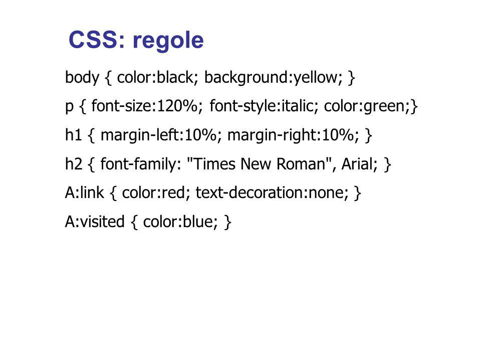 CSS: regole body { color:black; background:yellow; }