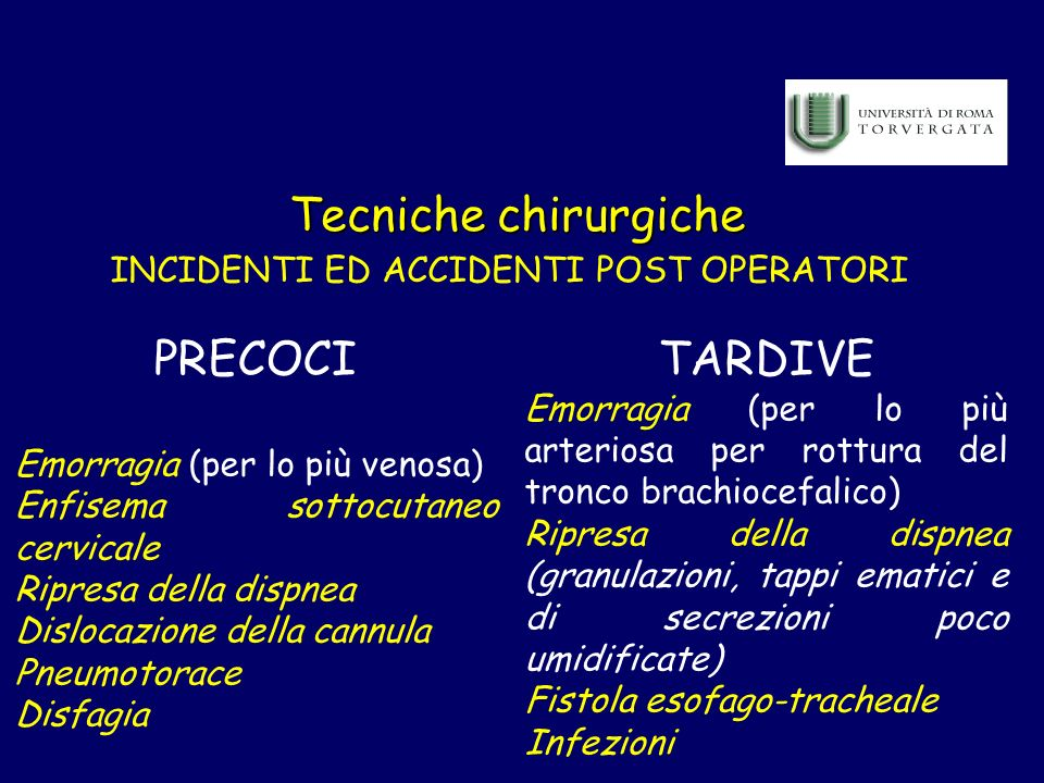 INCIDENTI ED ACCIDENTI POST OPERATORI