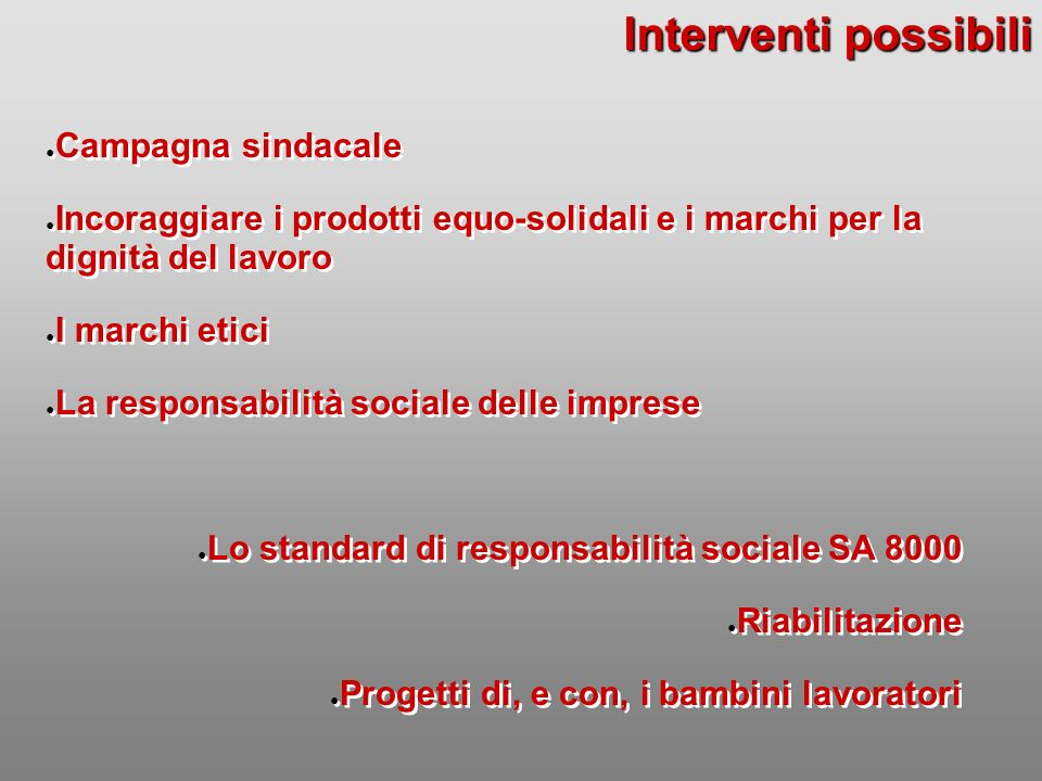 Interventi possibili Campagna sindacale