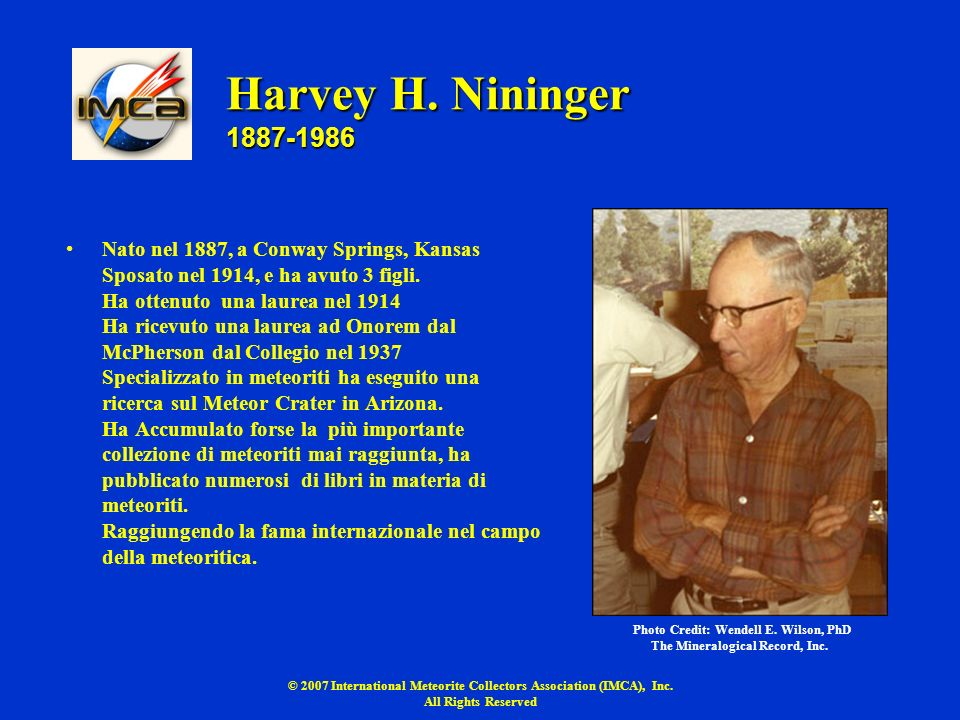 Harvey H. Nininger 1887-1986