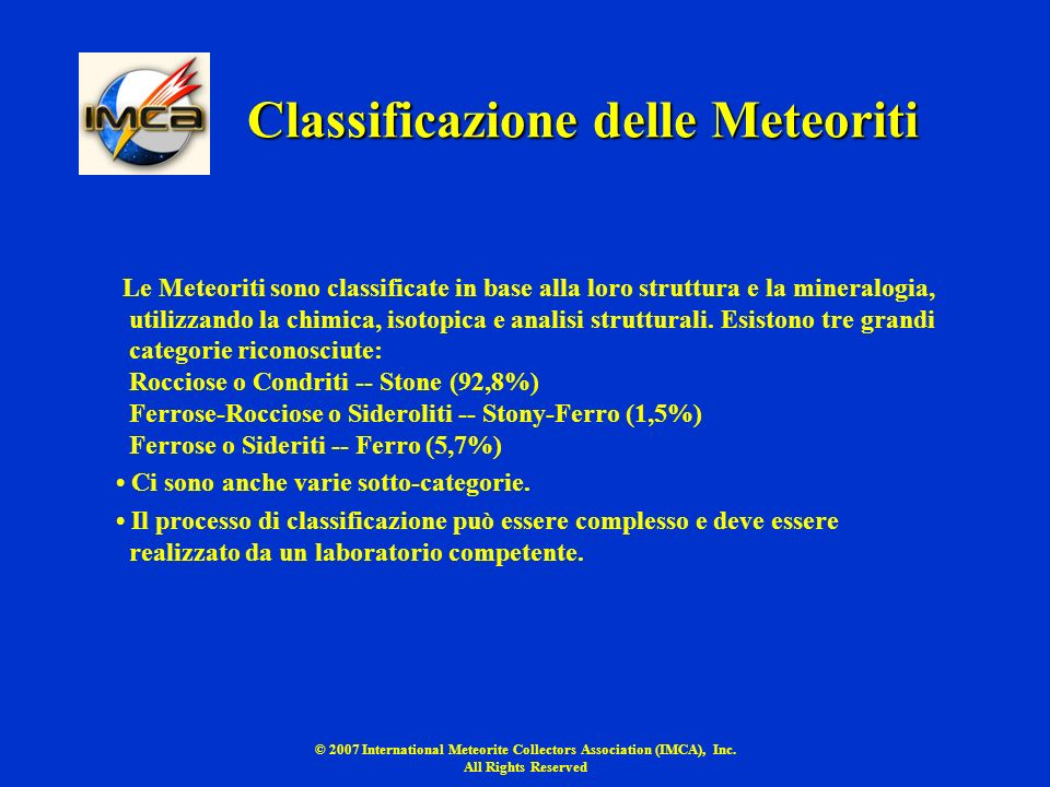 Classificazione delle Meteoriti