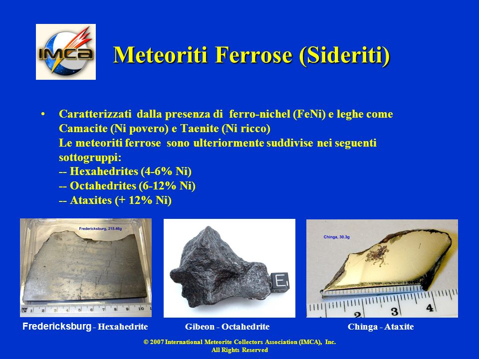 Meteoriti Ferrose (Sideriti)