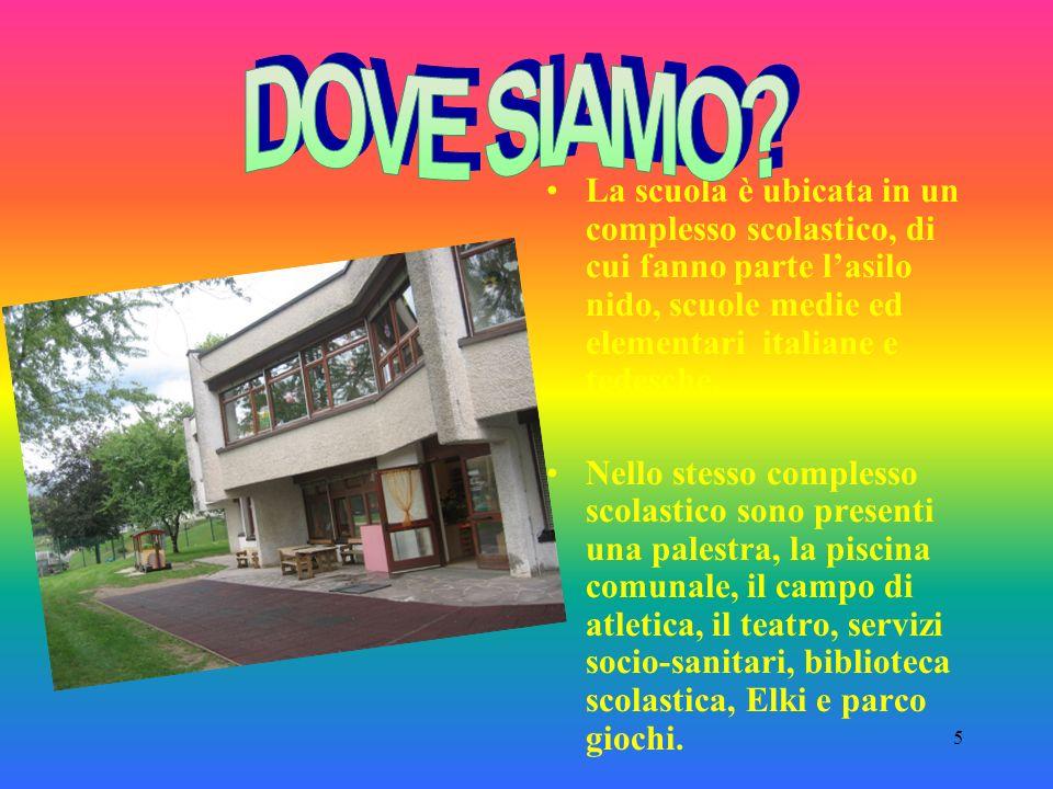 DOVE SIAMO La scuola è ubicata in un complesso scolastico, di cui fanno parte l'asilo nido, scuole medie ed elementari italiane e tedesche.