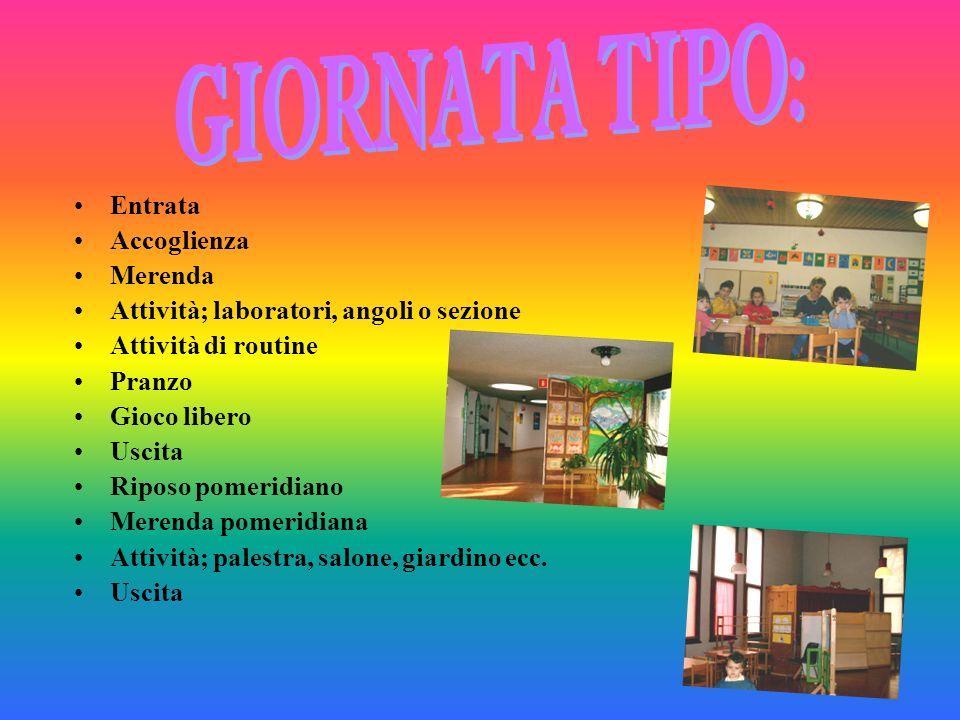 GIORNATA TIPO: Entrata Accoglienza Merenda