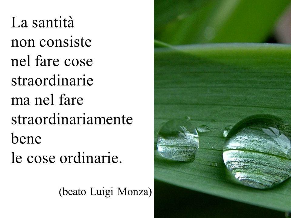 La santità non consiste nel fare cose straordinarie ma nel fare straordinariamente bene le cose ordinarie.
