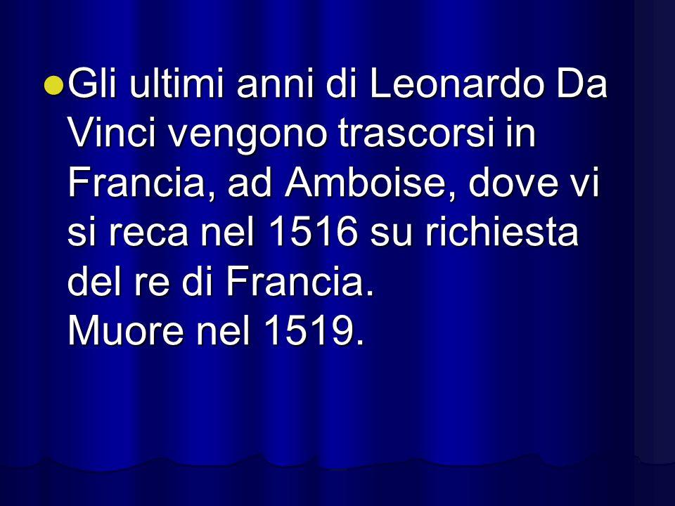 Gli ultimi anni di Leonardo Da Vinci vengono trascorsi in Francia, ad Amboise, dove vi si reca nel 1516 su richiesta del re di Francia.