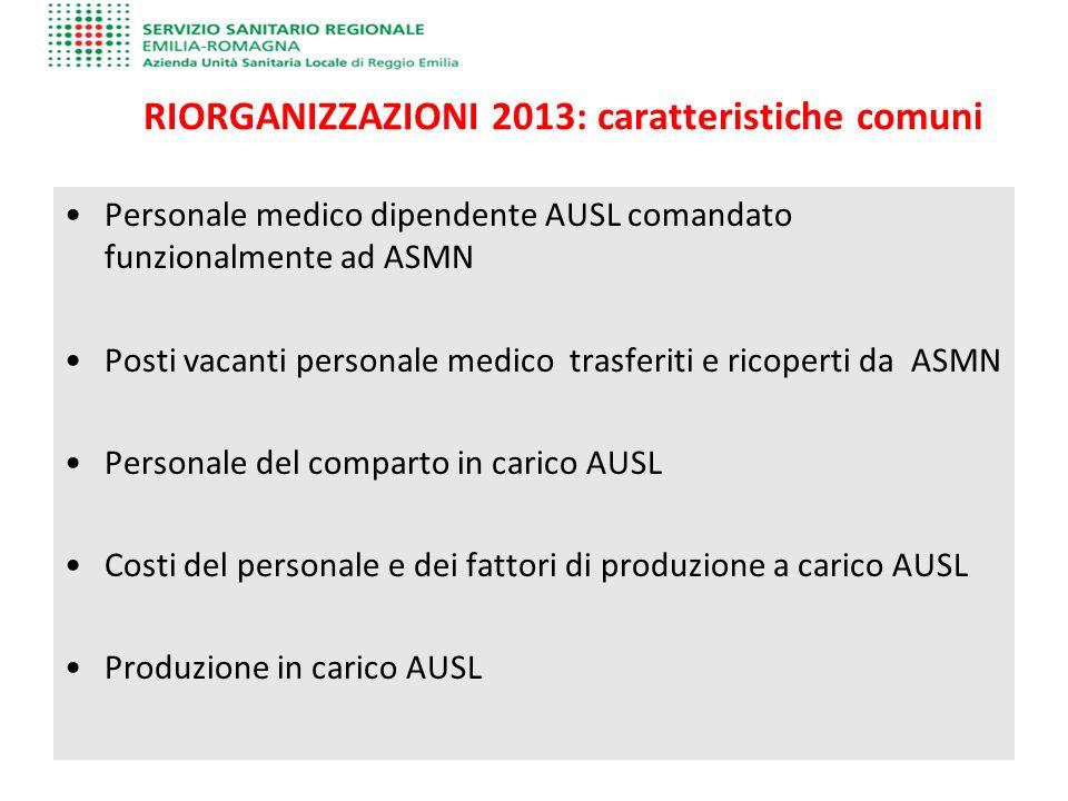 RIORGANIZZAZIONI 2013: caratteristiche comuni