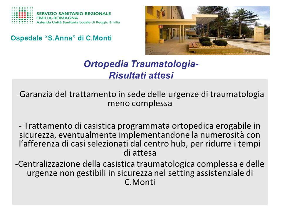 Ortopedia Traumatologia- Risultati attesi