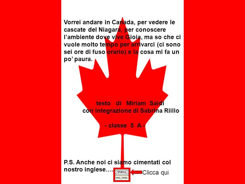 Vorrei andare in Canada, per vedere le cascate del Niagara, per conoscere l'ambiente dove vive Gioia, ma so che ci vuole molto tempo per arrivarci (ci sono sei ore di fuso orario) e la cosa mi fa un po' paura.