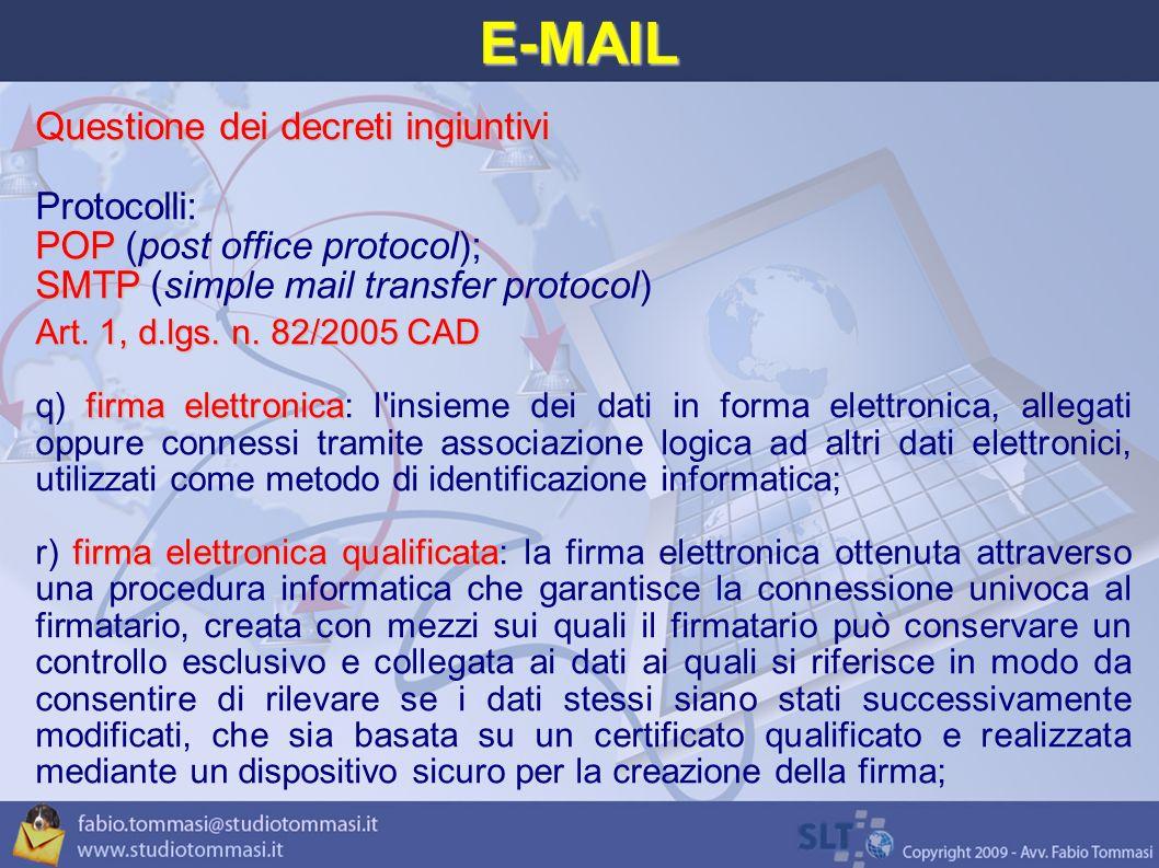E-MAIL Questione dei decreti ingiuntivi Protocolli: