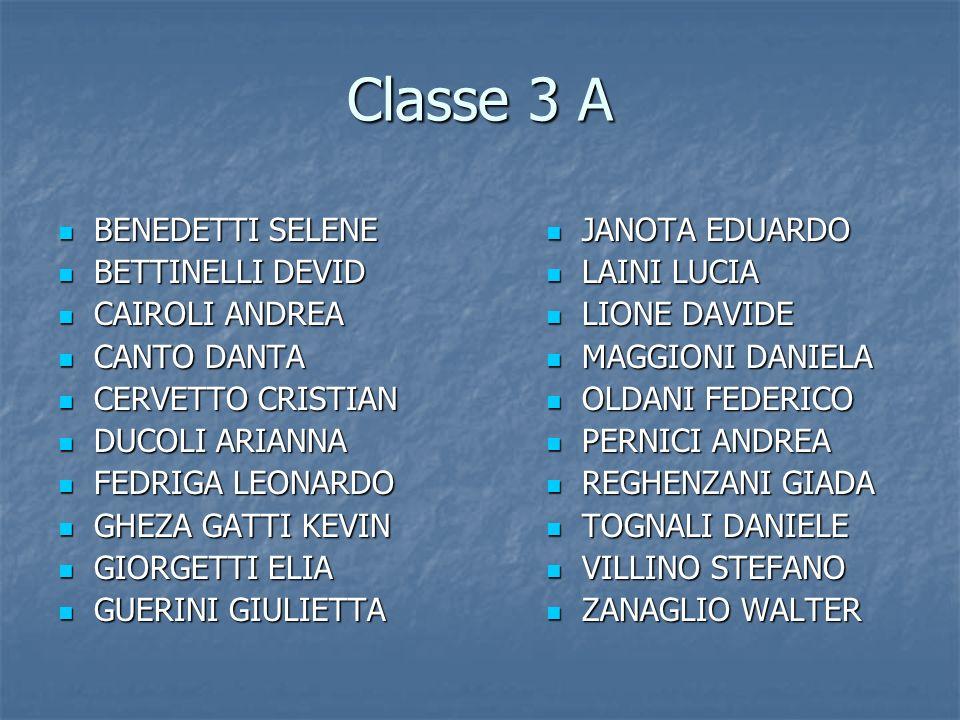 Classe 3 A BENEDETTI SELENE BETTINELLI DEVID CAIROLI ANDREA