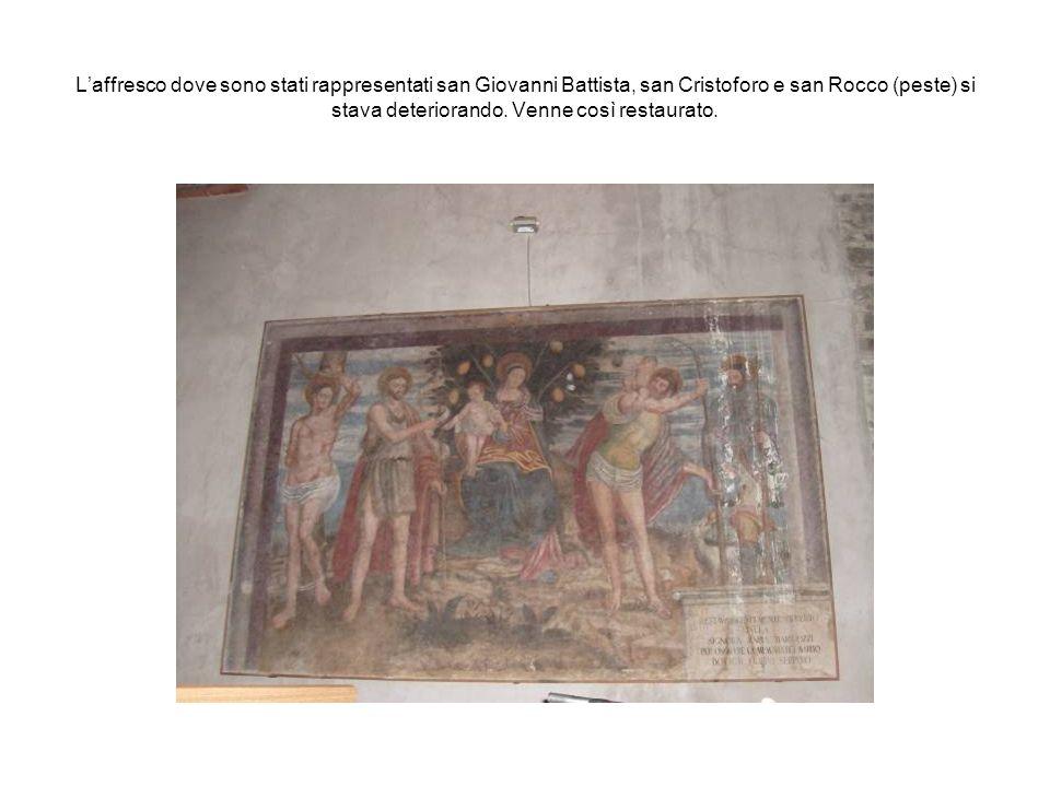 L'affresco dove sono stati rappresentati san Giovanni Battista, san Cristoforo e san Rocco (peste) si stava deteriorando.
