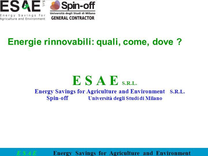 E S A E S.R.L. Energie rinnovabili: quali, come, dove