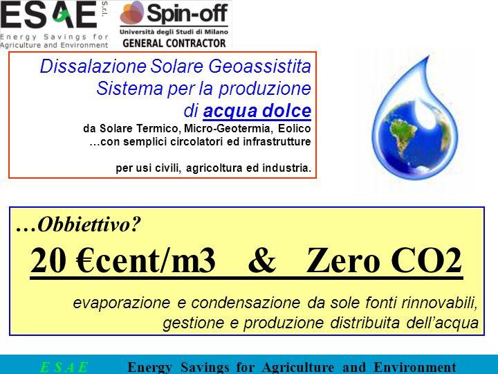 20 €cent/m3 & Zero CO2 …Obbiettivo Dissalazione Solare Geoassistita