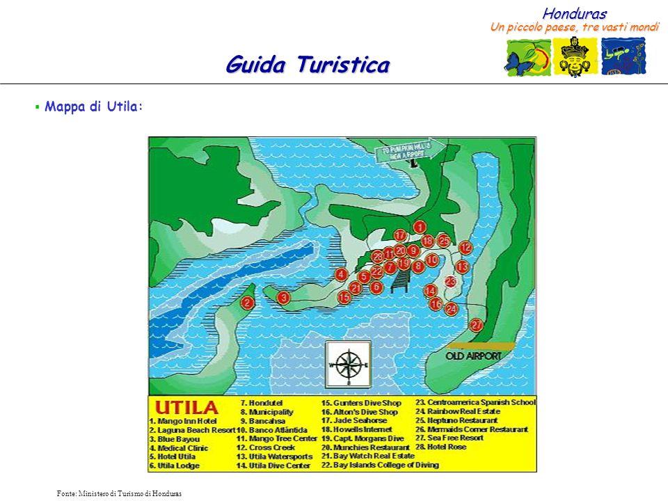 Mappa di Utila: Fonte: Ministero di Turismo di Honduras